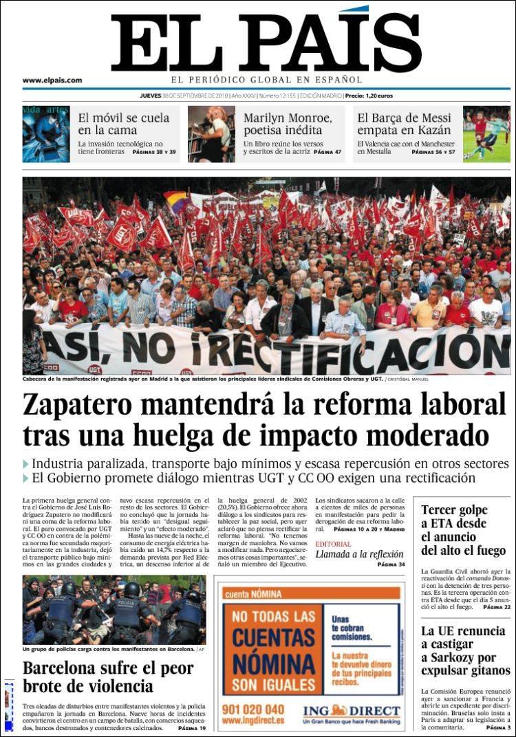 Rebelión en diario El País de España